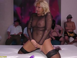 big titty chubby unrestricted flexible milf enjoys her first german bukakke group bang party orgy