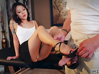 Nude Korean Saya Song gives a footjob and blowjob to clothed married man