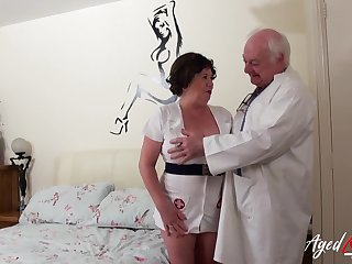 Superannuated nurse cums round life with an old perverted doctor