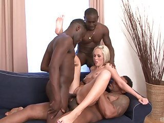 Unavailable blonde fulfills her deep desires be required of fucking nearby disgraceful studs