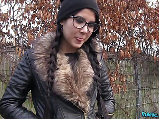 Cute girl with glasses and pigtails gets her ass covered in cum