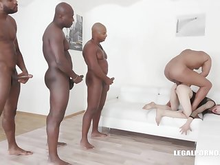 Ciara Riviera is trying an interracial DAP during a group sex session, added to enjoying it a lot