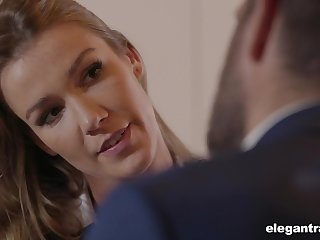 Sexy business daughter around a big ass fucks to come into possession of a contract