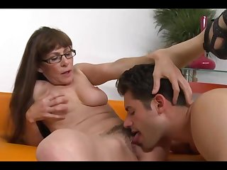 Mature brunette with long hair and glasses is fucking will not hear of younger neighbor, just for fun