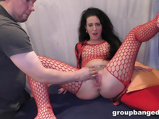 Nasty mature in red fishnet gets fucked at the end of one's tether several younger studs