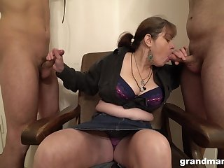 Matured German slut wants her slaves to suck her fat tits