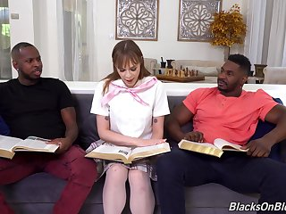 Anal and facial for the nerdy babe there scenes for interracial threesome