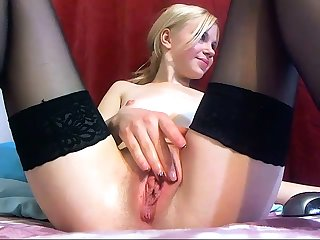 Sexy girl forth stockings native land a small dildo forth her ass