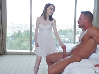 Babe nigh white snow skin Alice Merchesi is fucked away from her horny boyfriend
