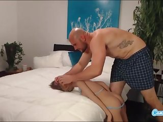 jmac gets deep throat ass going to bed and doggie-style from real gal before spunking anent her bootie