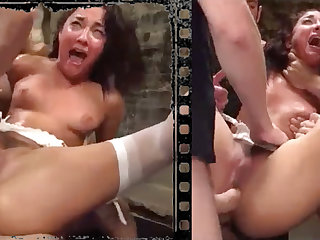 Messy stunner plowed xxx alongside five immense penises!