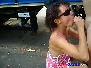 Wife sucking cock of a truck driver. Public Nudity